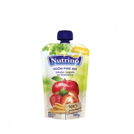 Voćni pire mix jabuka i jagoda sa žitaricama 220g - photo ambalaze
