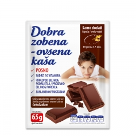 Zobena ovsena kaša čokolada 65g - photo ambalaze